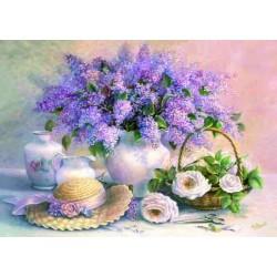 Zátišie kvetín s klobúkem