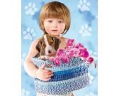 Dieťa a pes Beagle