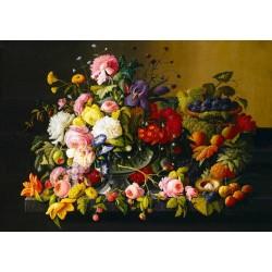 Puzzle Zátišie ovocia a kvetín