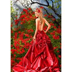 Kráska v červených šatách