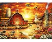 Západ slnka nad farmou