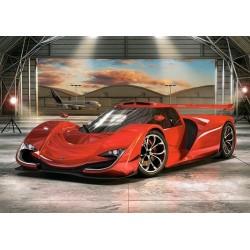 Červené auto v hangári - DETSKÉ PUZZLE