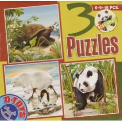 Korytnačka, ľadový medveď a Panda - DETSKÉ PUZZLE