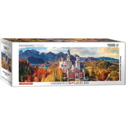 Pohľad na Neuschwanstein - PANORAMATICKÉ PUZZLE