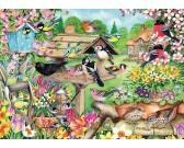 Vtáky v jarnej záhrade